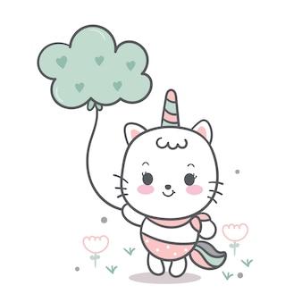 Vecteur de chat mignon minet tenant nuage