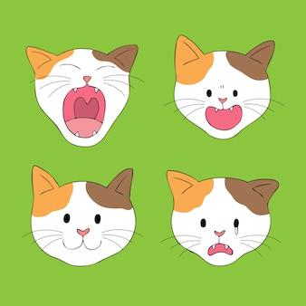 Vecteur de chat visage mignon dessin animé.