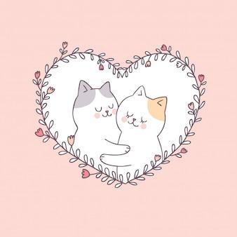 Vecteur de chats de dessin animé mignon saint valentin couple.