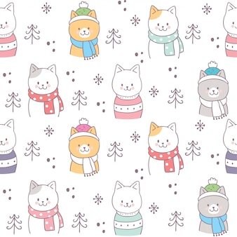 Vecteur de chats hiver mignon modèle sans couture.