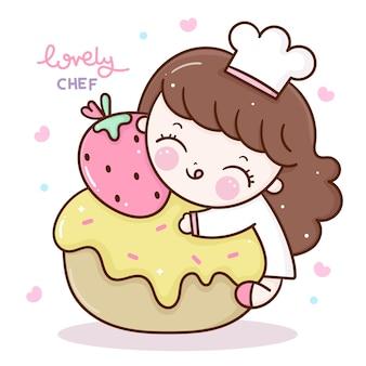 Vecteur de chef mignon fille avec personnage kawaii de dessin animé de petit gâteau