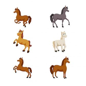 Vecteur de cheval mignon dessin animé