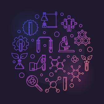 Vecteur de chimie biologique rond illustration de concept contour coloré sur fond sombre