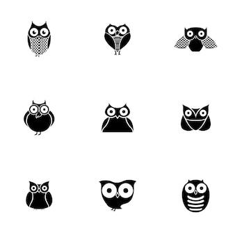 Vecteur de chouette. illustration simple de hibou, éléments modifiables, peut être utilisée dans la conception de logo