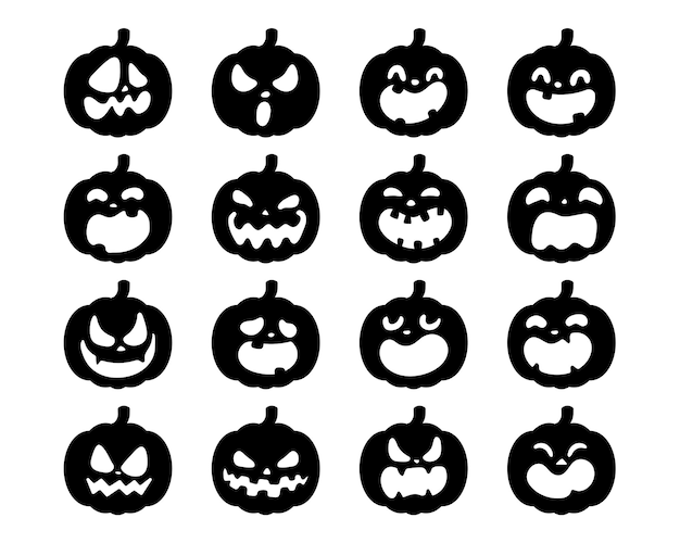 Vecteur de citrouille jaune pour sculpter des visages de fantômes effrayants pour halloween.
