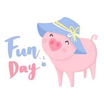 Vecteur de cochon mignon. animaux drôles. illustration de porcs isolé sur blanc. symbole de 2019 sur le calendrier chinois. impression d'enfants.