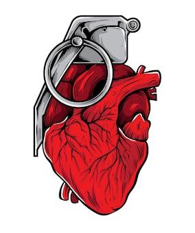 Vecteur de coeur de grenade