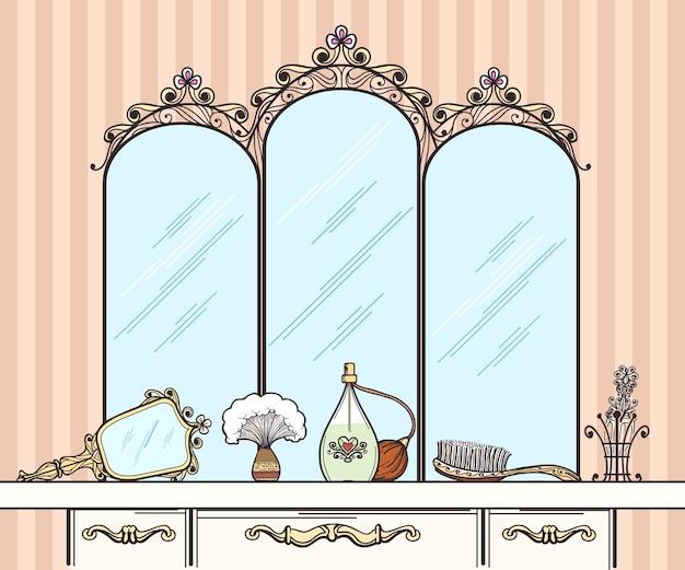 Vecteur de coiffeuse rétro. miroir et brosse à cheveux, parfums et cosmétiques. coiffeuse intérieure de meubles avec miroir en illustration vectorielle de style rétro
