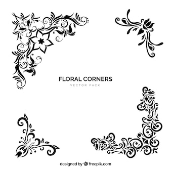 Vecteur coins floraux