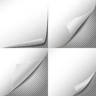 Vecteur de coins de papier curl serti de fond transparent à carreaux. autocollant de feuille, illustration d'étiquette vierge de message