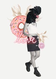 Vecteur de collage féminin, mot d'amour dans l'art des médias mixtes