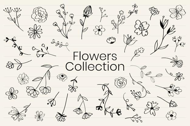 Vecteur de collecte de diverses fleurs doodle