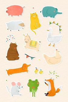 Vecteur de collection d'autocollants animaux festifs dessinés à la main
