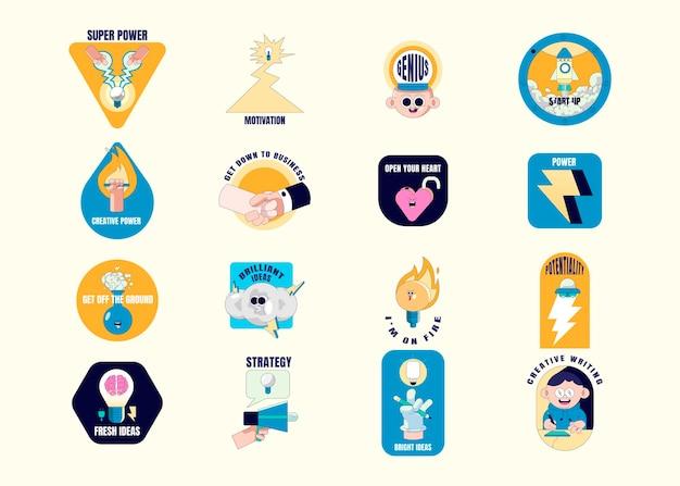 Vecteur de collection de badges de motivation créative