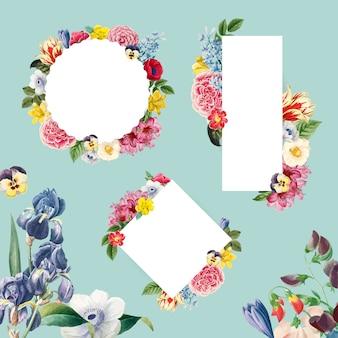 Vecteur de collection cadre floral blanc