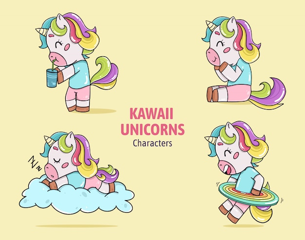 Vecteur de collection de caractères de licornes kawaii
