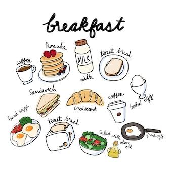 Vecteur, collection petit déjeuner