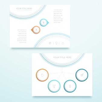 Vecteur coloré 3d modèle de page de paysage infographique