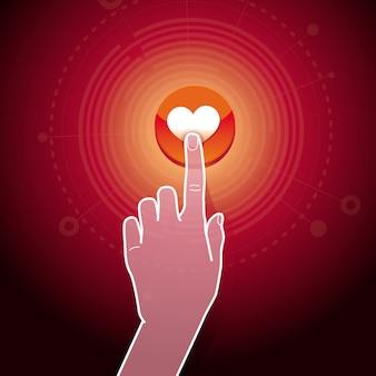 Vecteur comme concept - main toucher le bouton avec le signe du coeur