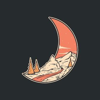 Vecteur complet d'illustration de montagnes en forme de lune