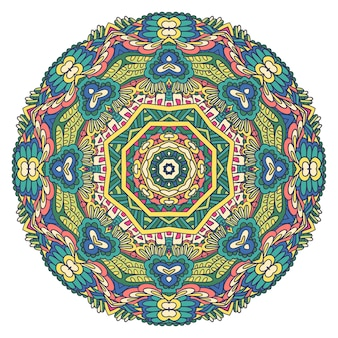 Vecteur complexe de médaillon ethnique tribal coloré festif