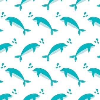 Vecteur de concept animal sous-marin dauphin modèle sans couture