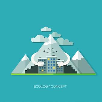 Vecteur de concept design plat écologie