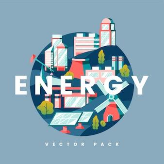 Vecteur de concept énergétique en bleu