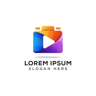 Vecteur de concept de logo caméra multimédia