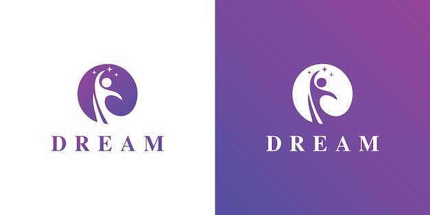 Vecteur de concept de logo kids dream icône du logo kids moon symbole du logo enfant et arbre