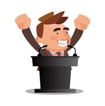 Vecteur de concept de podium gagnant entreprise