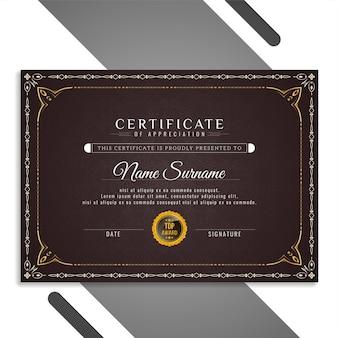 Vecteur de conception abstraite élégant beau certificat