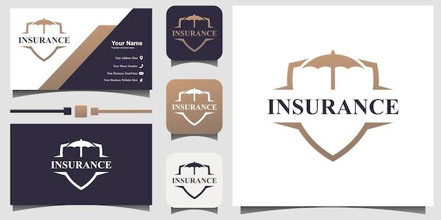 Vecteur de conception d'assurance logo parapluie avec arrière-plan du modèle de carte de visite