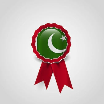 Vecteur de conception de badge drapeau pakistan