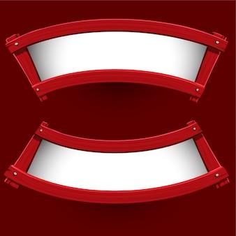Vecteur de conception de bannière de bois rouge