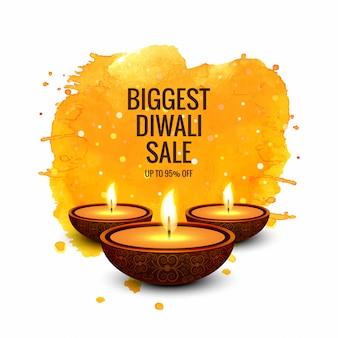 Vecteur de conception de bannière colorée super vente diwali