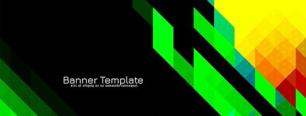 Vecteur de conception de bannière de cristal de modèle de mosaïque triangulaire moderne coloré