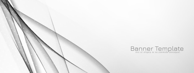Vecteur de conception de bannière de style vague grise et blanche décorative