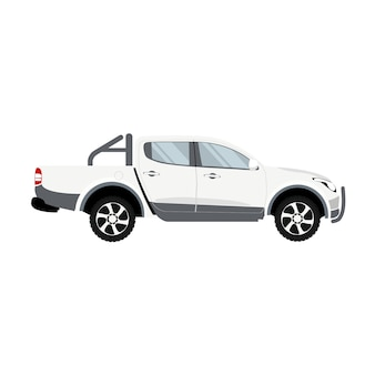 Vecteur de conception de cabine double couleur blanche camionnette