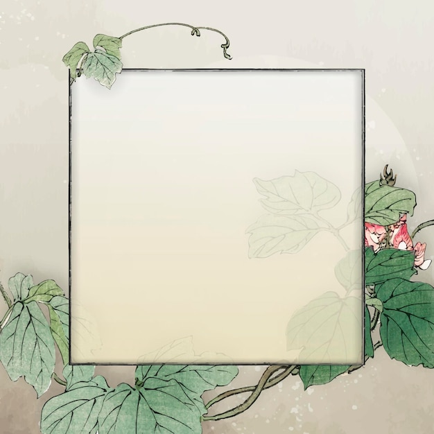 Vecteur de conception de cadre carré feuillu