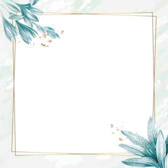 Vecteur de conception de cadre de feuilles vintage carré