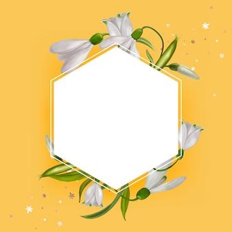 Vecteur de conception de cadre floral blanc