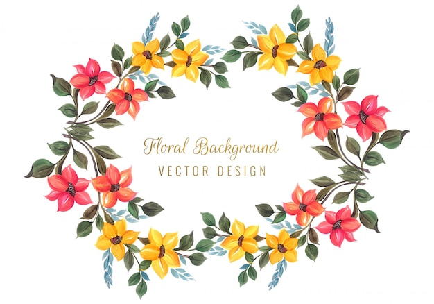 Vecteur de conception de cadre floral coloré décoratif