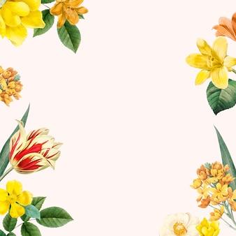 Vecteur de conception de cadre floral de printemps