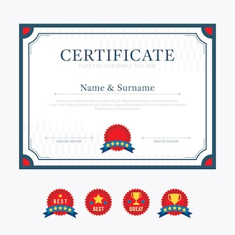 Vecteur de conception de cadre de fond de mise en page de modèle de certificat. style d'art plat moderne