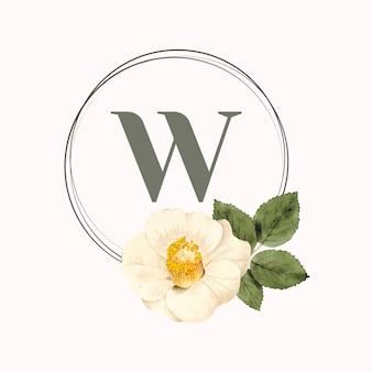 Vecteur de conception de cadre rond floral