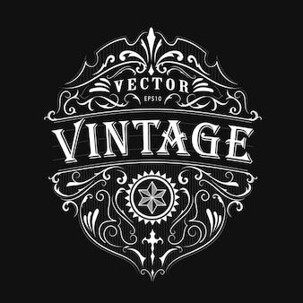 Vecteur de conception de cadre vintage typographie étiquette antique