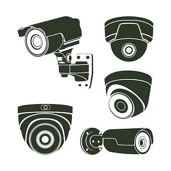 Vecteur de conception de caméra sécurisée, modèle de conception de silhouette cctv, modèle de symbole d'icône de logo