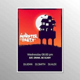 Vecteur de conception de carte invitation fête halloween zombie heureux
