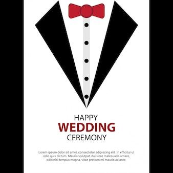 Vecteur de conception de carte de mariage heureux